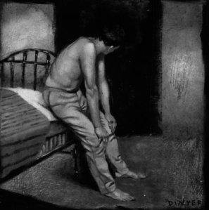 Hay+alguien+mas+-+Hombre+descanmisado+sentado+en+una+cama+con+pantalones+de+color+caqui+-+Eric+Dynier